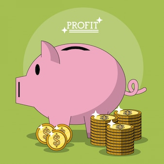 Poster colorato con forma di scatola di denaro profitto di maiale e monete impilate