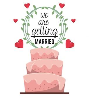 Poster colorato di ci stiamo per sposare con la torta nuziale