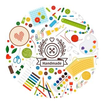 Poster colorato di forma rotonda fatta a mano con elementi piatti