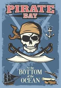 Poster colorato di pirati con grande teschio e titolo baia dei pirati sul fondo dell'oceano