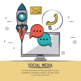 Poster colorato di social media con computer desktop e icone