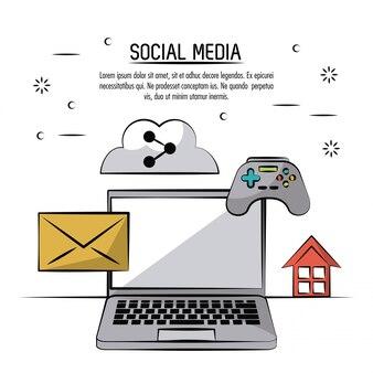 Poster colorato di social media con icone