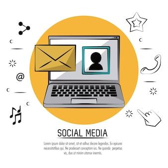 Poster colorato di social media con laptop