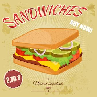 Poster colorato retrò dei cartoni animati di fast food.