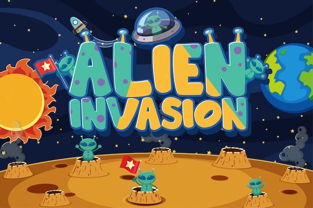 Poster con alieni sullo sfondo dello spazio