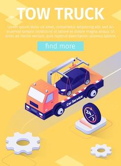 Poster con banner di offerta di assistenza di camion rimorchio a tempo pieno