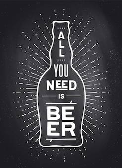 Poster con bottiglia di birra alla birra o non alla birra