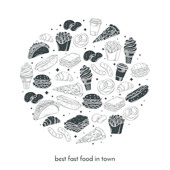 Poster con fast food disegnati a mano