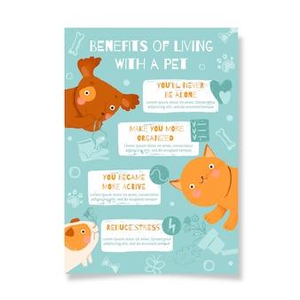 Poster con i vantaggi di vivere con un animale domestico