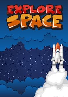 Poster con l'astronave che vola nello spazio buio
