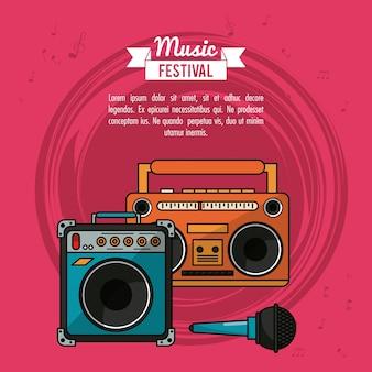 Poster con lettore cassette e altoparlante e microfono
