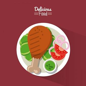Poster con piatto di pollo fritto con verdure