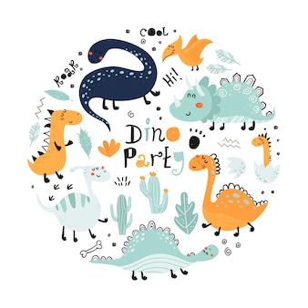Poster con simpatici dinosauri e scritte.