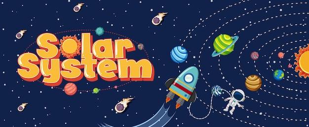 Poster con sistema solare e astronauta volare nello spazio