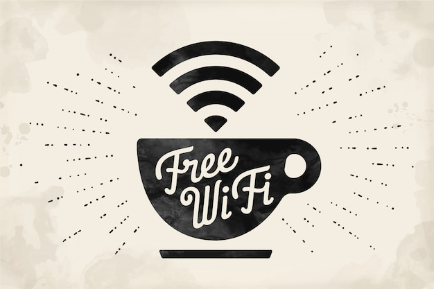 Poster con tazza di caffè e testo wifi gratuito