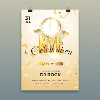 Poster con timer per il conto alla rovescia, bicchieri da vino e dettagli del locale per la celebrazione di new york (capodanno).