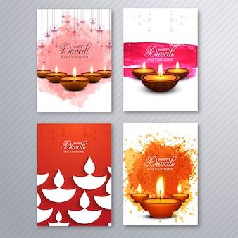 Poster con un diya per il modello di volantino colorato di diwali
