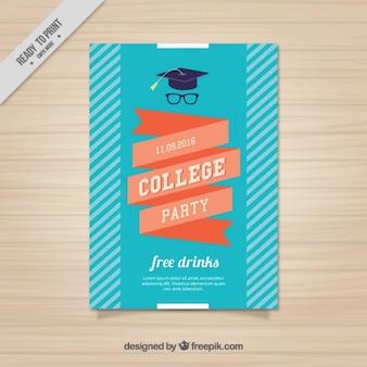 Poster con un nastro per la festa del college