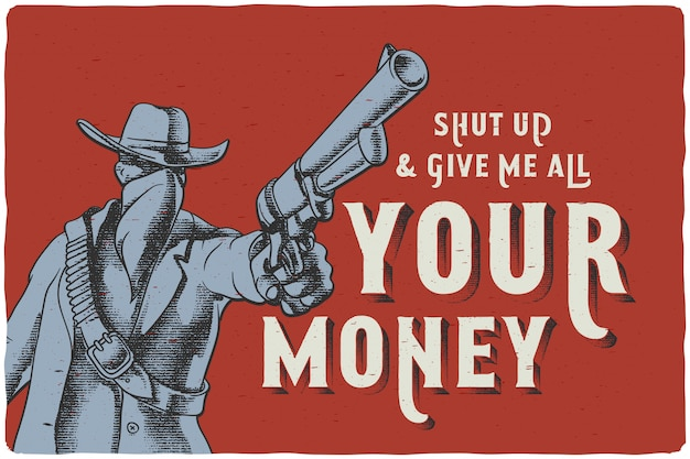 Poster con un uomo del selvaggio west con in mano una pistola