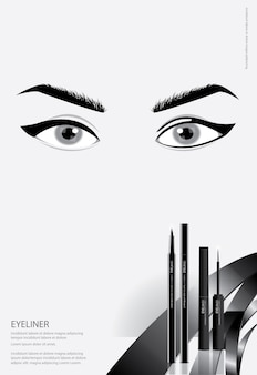 Poster cosmetic eyeliner con packaging