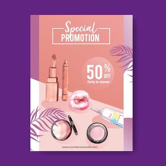 Poster cosmetico con evidenziatore, rossetto, pennello