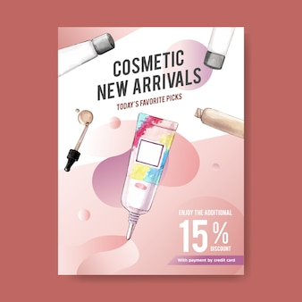 Poster cosmetico con fondotinta, primer