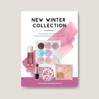 Poster cosmetico con pennello, ombretto, rossetto