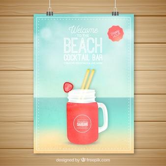 Poster da cocktail di daiquiri sulla spiaggia
