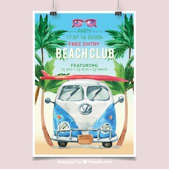 Poster da festa in spiaggia con furgone acquerello