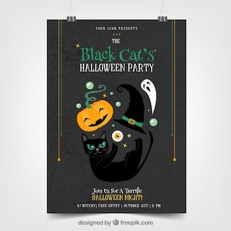 Poster da party di halloween con gatto e altri elementi