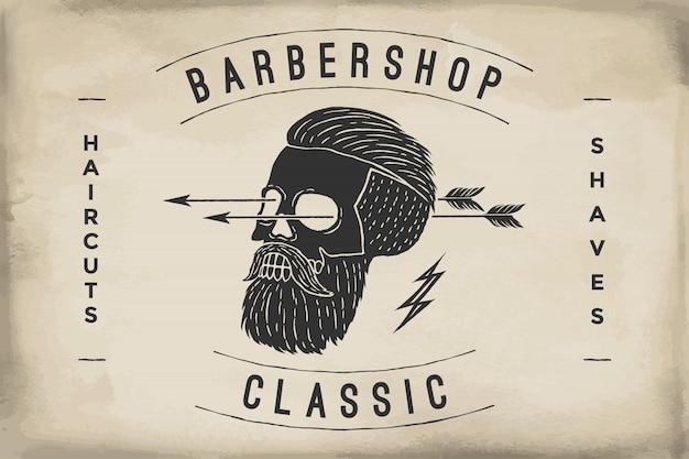 Poster del barbiere su una trama di carta beige