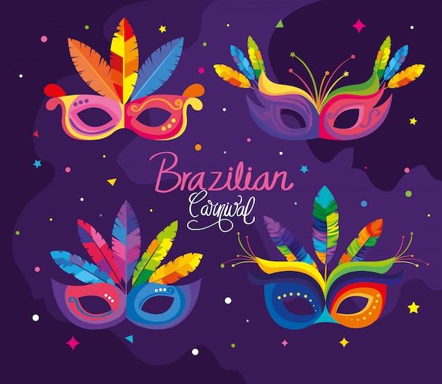 Poster del carnevale brasiliano con maschere
