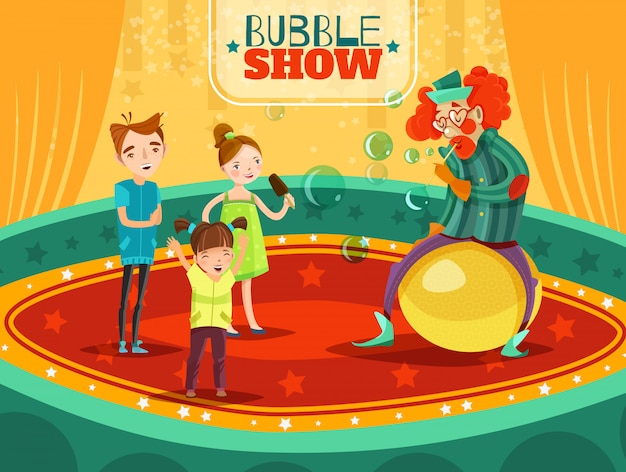 Poster del circo clown performance bubble show