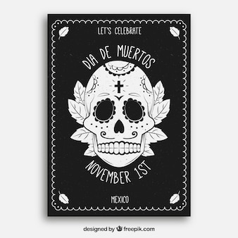 Poster del giorno di deads con il cranio disegnato a mano