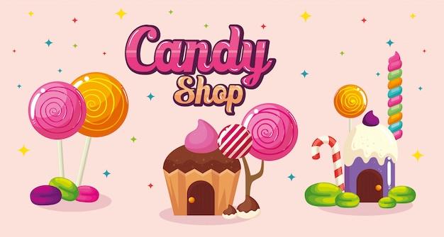 Poster del negozio di caramelle con case cupcake e caramelle
