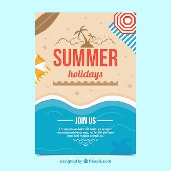 Poster del partito con la spiaggia di estate