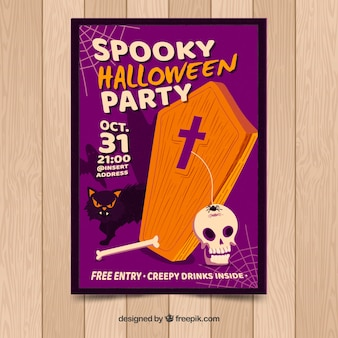 Poster del partito di halloween con la bara