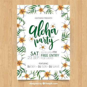 Poster del partito di hawaii abbastanza con i fiori dell'acquerello
