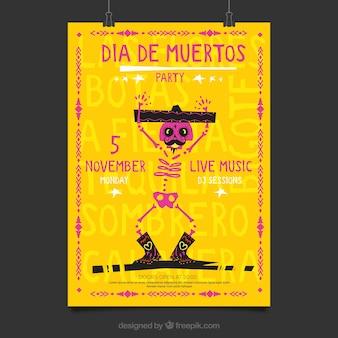 Poster del partito messicano con scheletro bello