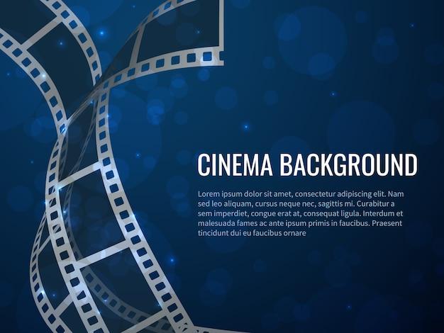 Poster del rotolo di striscia di pellicola. produzione di film con fotogrammi e testo in bianco negativi realistici. sfondo del cinema