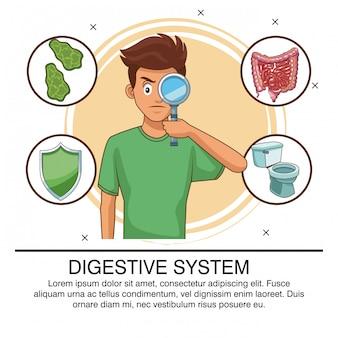 Poster del sistema digestivo con informazioni