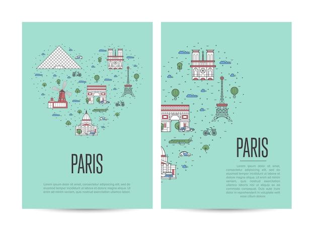 Poster del tour di viaggio di parigi impostato in stile lineare