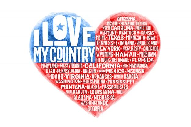 Poster della bandiera degli stati uniti d'america a forma di cuore dell'acquerello