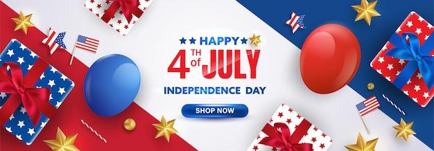 Poster della celebrazione del 4 luglio. modello di bandiera di promozione di vendita usa di festa dell'indipendenza con palloncini rossi, bianchi e blu e scatole regalo.