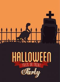 Poster della festa di halloween con gatto nero e pietra tombale