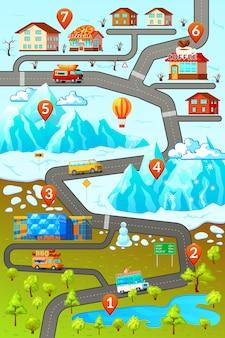 Poster della mappa stradale delle montagne