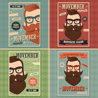 Poster design di movember, consapevolezza del cancro alla prostata, uomo hipster con barba e baffi