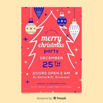 Poster design piatto modello di festa di natale