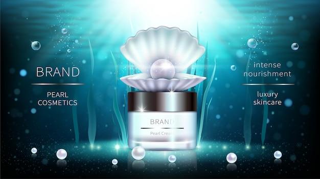 Poster di annunci realistici di cosmetici di perle e alghe