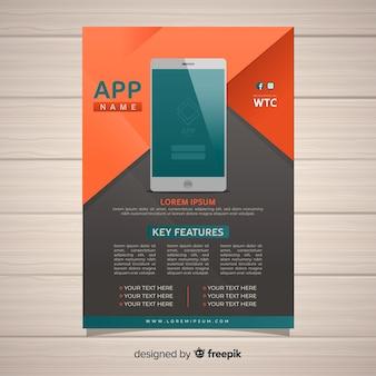 Poster di app mobile geometrico